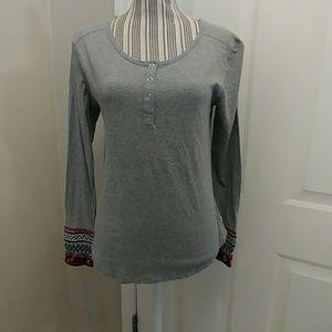 🍀Lucky Brand Gray Long Sleeved Henley Top